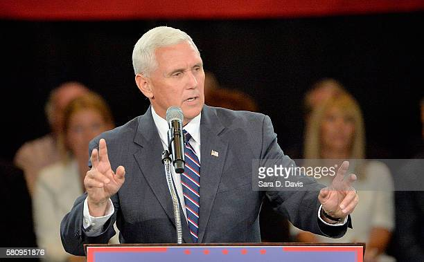 Republican vice presidential candidate Mike Pence address an audience at a campaign stop at the The Hotel Roanoke Conference Center on July 25 2016...