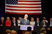 Republican vice presidential candidate Mike Pence addresses the audience at a campaign stop at the The Hotel Roanoke Conference Center on July 25...