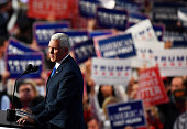 Republican Vice Presidential candidate Mike Pence delivers a speech on the third day of the Republican National Convention on July 20 2016 at the...