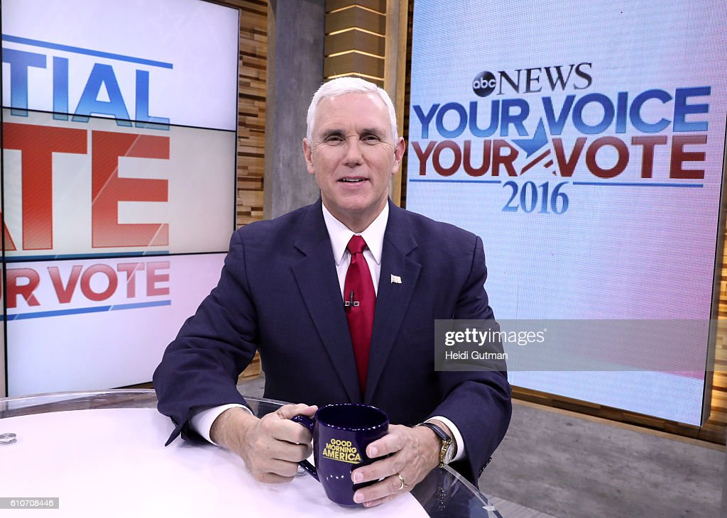 AMERICA- Republican vice presidential candidate Mike Pence discusses the first presidential debate on 'Good Morning America,' 9/27/16, airing on the ABC Television Network. MIKE