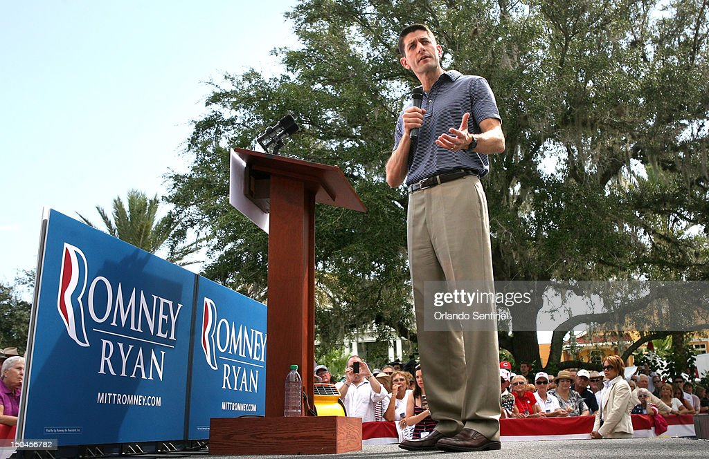 Republican vice presidential candidate Paul Ryan delivers remarks during a rally in The Villages, Florida, Saturday, August 18, 2012.