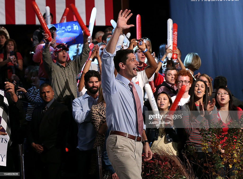 Republican vice presidential candidate Rep. Paul Ryan (R-WI) greets supporters during a campaign rally at the Red Rocks Amphitheatre on October 23, 2012 in Morrison, Colorado. A day after the final Presidential debate, Mitt Romney is campaigning in Nevada and Colorado.