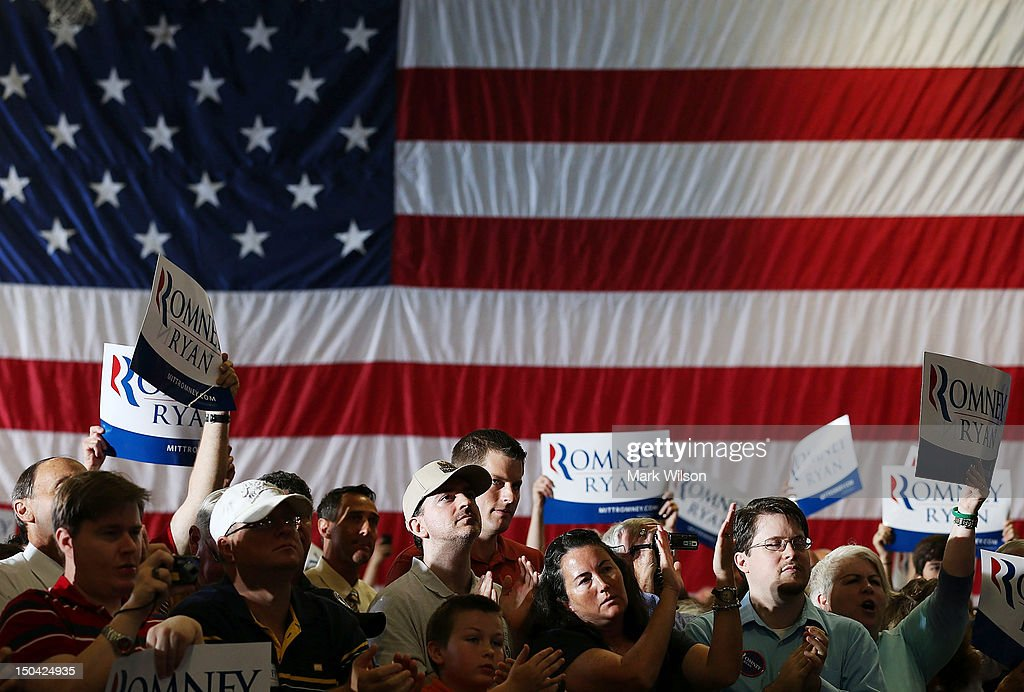 Republican vice presidential candidate Rep. Paul Ryan (R-WI) speaks during a campaign stop at Deep Run High School on August 17, 2012 in Glen Allen, Virginia. Later today Rep. Ryan will be campaigning in northern Virginia.