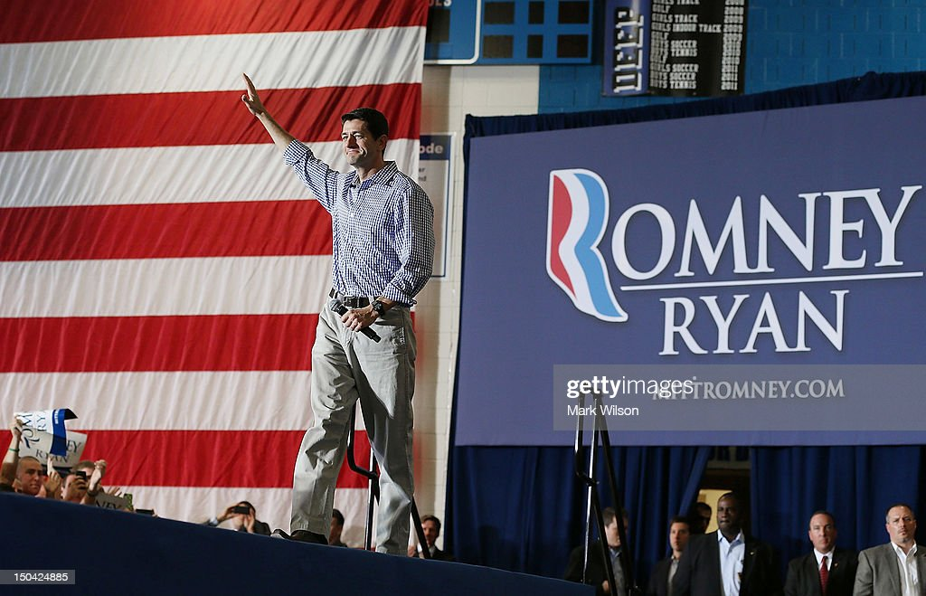 Republican vice presidential candidate Rep. Paul Ryan (R-WI) walks on stage during a campaign stop at Deep Run high school, on August 17, 2012 in Glen Allen, Virginia. Later today Rep. Ryan will be campaigning in northern Virginia.