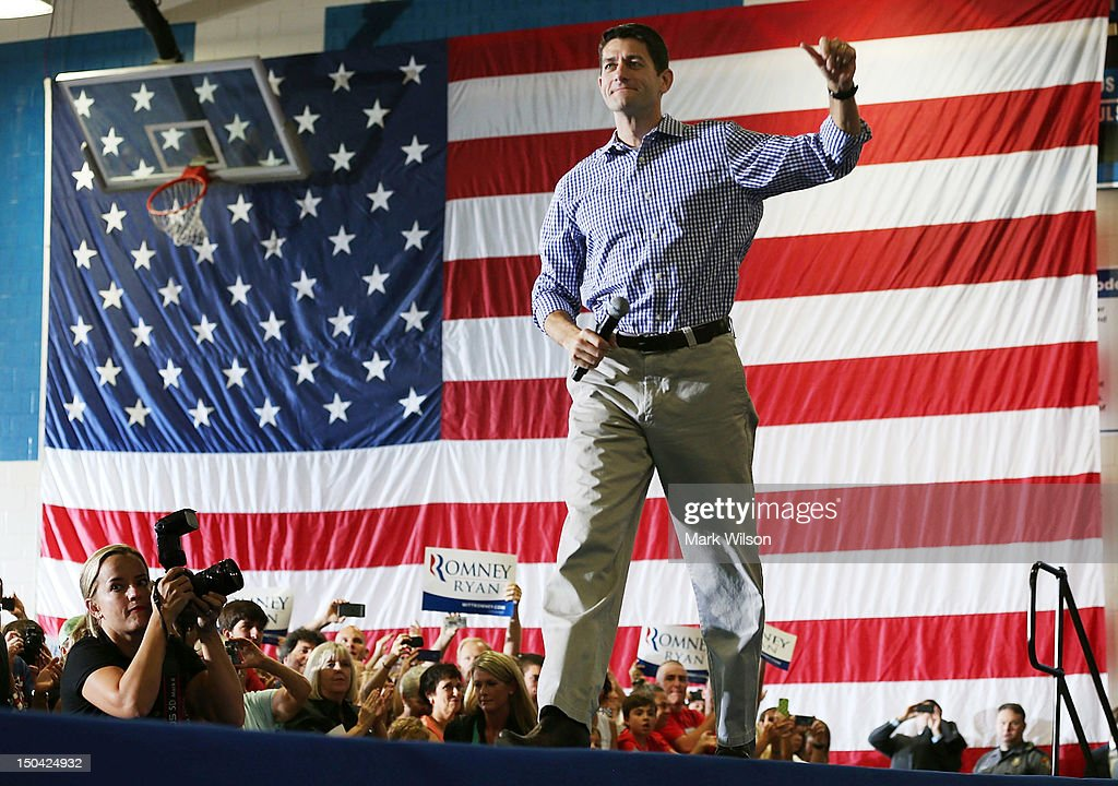 Republican vice presidential candidate Rep. Paul Ryan (R-WI) walks on stage during a campaign stop at Deep Run High School on August 17, 2012 in Glen Allen, Virginia. Later today Rep. Ryan will be campaigning in northern Virginia.