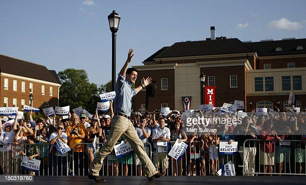 Republican vice presidential candidate US Rep Paul Ryan arrives at a campaign event at Miami University on August 15 2012 in Oxford Ohio Ryan is...