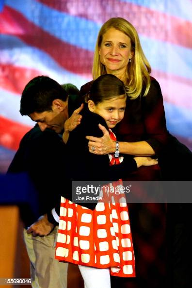 Republican vice presidential candidate US Rep Paul Ryan daughter Liza Ryan and wife Janna Ryan embrace each other after Republican presidential...