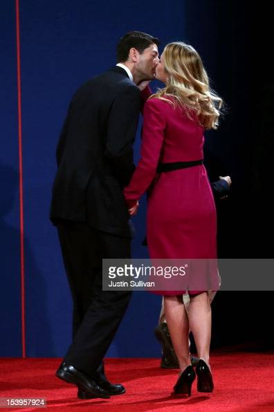 Republican vice presidential candidate US Rep Paul Ryan kisses his wife Janna Ryan after the vice presidential debate at Centre College October 11...