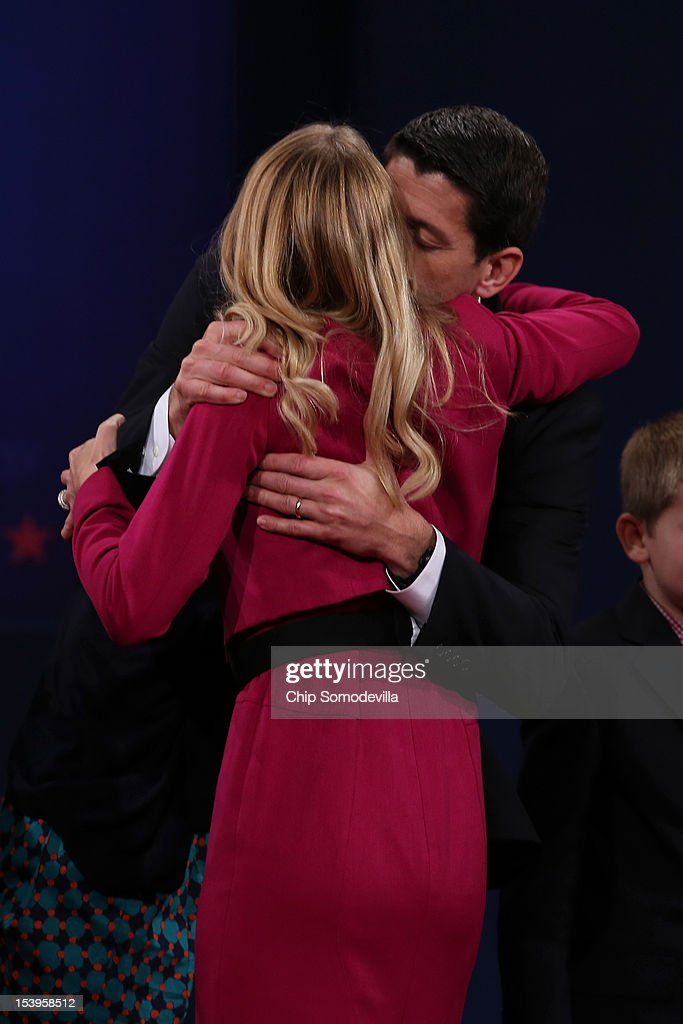 Republican vice presidential candidate U.S. Rep. Paul Ryan (R-WI) kisses his wife <a gi-track='captionPersonalityLinkClicked' href=/galleries/search?phrase=Janna+Ryan&family=editorial&specificpeople=9632767 ng-click='$event.stopPropagation()'>Janna Ryan</a> after the vice presidential debate at Centre College October 11, 2012 in Danville, Kentucky. This is the second of four debates during the presidential election season and the only debate between the vice presidential candidates before the closely-contested election November 6.