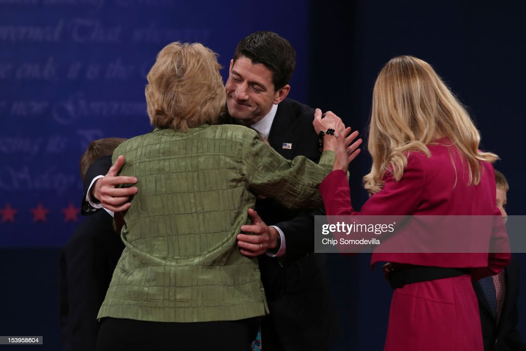 Republican vice presidential candidate U.S. Rep. Paul Ryan (R-WI) (R) meets with family after the vice presidential debate at Centre College October 11, 2012 in Danville, Kentucky. This is the second of four debates during the presidential election season and the only debate between the vice presidential candidates before the closely-contested election November 6.
