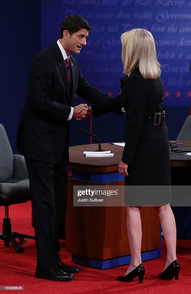 Republican vice presidential candidate U.S. Rep. Paul Ryan (R-WI) (R) shakes hands with moderator Martha Raddatz after the vice presidential debate at Centre College October 11, 2012 in Danville, Kentucky. This is the second of four debates during the presidential election season and the only debate between the vice presidential candidates before the closely-contested election November 6.