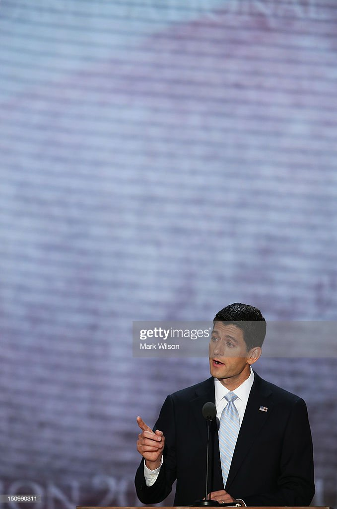 Republican vice presidential candidate, U.S. Rep. Paul Ryan (R-WI) speaks during the third day of the Republican National Convention at the Tampa Bay Times Forum on August 29, 2012 in Tampa, Florida. Former Massachusetts Gov. Mitt Romney was nominated as the Republican presidential candidate during the RNC, which is scheduled to conclude August 30.