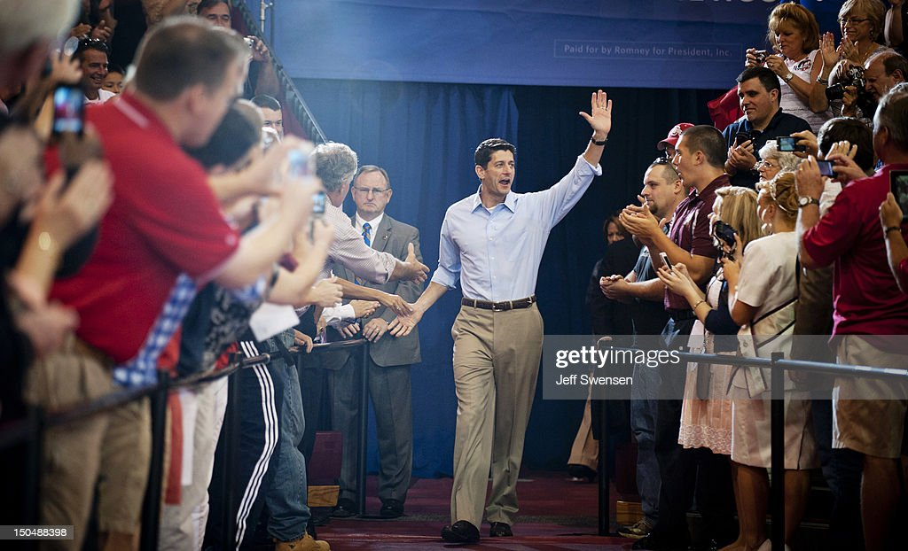 Republican vice presidential candidate U.S. Rep. Paul Ryan (R-WI) waves at a campaign event at Walsh University on August 16, 2012 in North Canton, Ohio. Ryan is campaigning in the battleground state of Ohio after being named as the vice presidential candidate last week by Republican presidential hopeful Mitt Romney.
