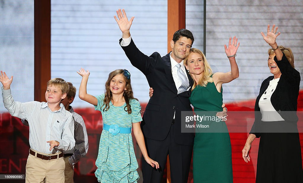 Republican vice presidential candidate, U.S. Rep. Paul Ryan (R-WI) waves with his family daughter, Liza Ryan, sons, Charlie Ryan (L) and Sam Ryan and wife, <a gi-track='captionPersonalityLinkClicked' href=/galleries/search?phrase=Janna+Ryan&family=editorial&specificpeople=9632767 ng-click='$event.stopPropagation()'>Janna Ryan</a> (2R) and mother Elizabeth Ryan (R) during the third day of the Republican National Convention at the Tampa Bay Times Forum on August 29, 2012 in Tampa, Florida. Former Massachusetts Gov. Mitt Romney was nominated as the Republican presidential candidate during the RNC, which is scheduled to conclude August 30.