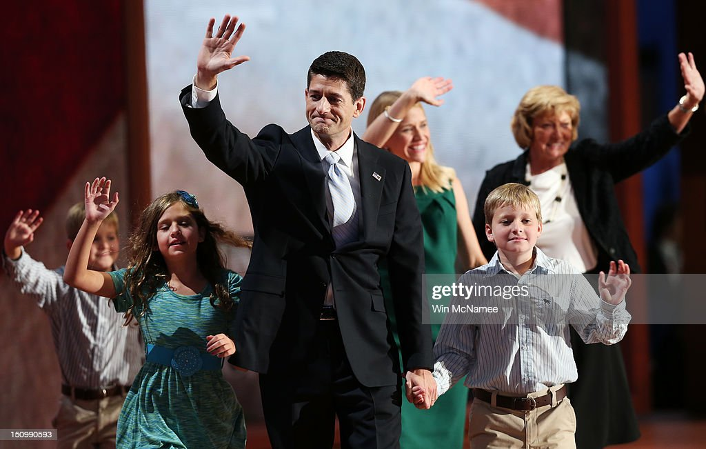 Republican vice presidential candidate, U.S. Rep. Paul Ryan (R-WI) waves with his family, daughter, Liza Ryan, sons, Charlie Ryan (R) and Sam Ryan and wife, <a gi-track='captionPersonalityLinkClicked' href=/galleries/search?phrase=Janna+Ryan&family=editorial&specificpeople=9632767 ng-click='$event.stopPropagation()'>Janna Ryan</a> (3R) and mother Elizabeth Ryan (R) during the third day of the Republican National Convention at the Tampa Bay Times Forum on August 29, 2012 in Tampa, Florida. Former Massachusetts Gov. Mitt Romney was nominated as the Republican presidential candidate during the RNC, which is scheduled to conclude August 30.
