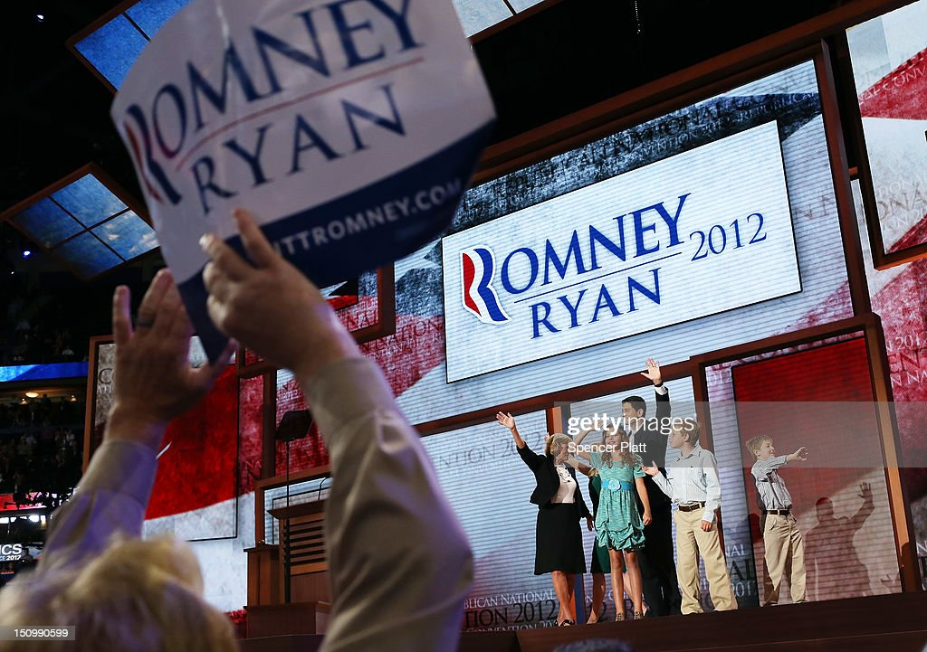 Republican vice presidential candidate, U.S. Rep. Paul Ryan (R-WI) waves with his family, daughter Liza Ryan, sons Charlie Ryan (2R) and Sam Ryan and wife, <a gi-track='captionPersonalityLinkClicked' href=/galleries/search?phrase=Janna+Ryan&family=editorial&specificpeople=9632767 ng-click='$event.stopPropagation()'>Janna Ryan</a> (obscured) and mother Elizabeth Ryan (L) during the third day of the Republican National Convention at the Tampa Bay Times Forum on August 29, 2012 in Tampa, Florida. Former Massachusetts Gov. Mitt Romney was nominated as the Republican presidential candidate during the RNC, which is scheduled to conclude August 30.