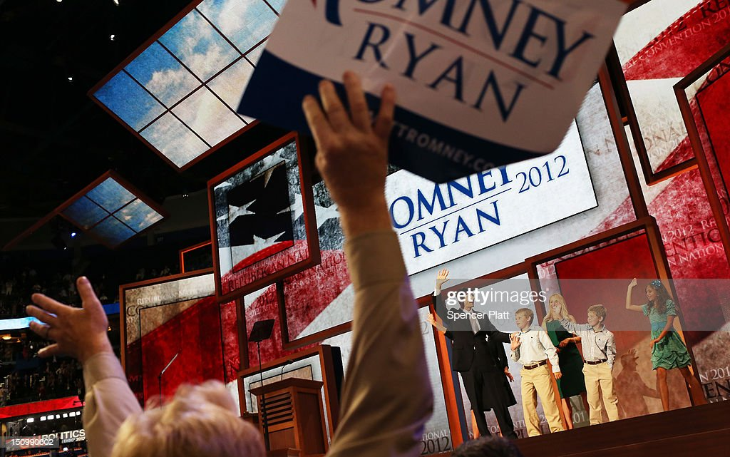 Republican vice presidential candidate, U.S. Rep. Paul Ryan (R-WI) waves with his family, daughter Liza Ryan, sons Charlie Ryan (2L) and Sam Ryan and wife, <a gi-track='captionPersonalityLinkClicked' href=/galleries/search?phrase=Janna+Ryan&family=editorial&specificpeople=9632767 ng-click='$event.stopPropagation()'>Janna Ryan</a> and mother Elizabeth Ryan (obscured) during the third day of the Republican National Convention at the Tampa Bay Times Forum on August 29, 2012 in Tampa, Florida. Former Massachusetts Gov. Mitt Romney was nominated as the Republican presidential candidate during the RNC, which is scheduled to conclude August 30.