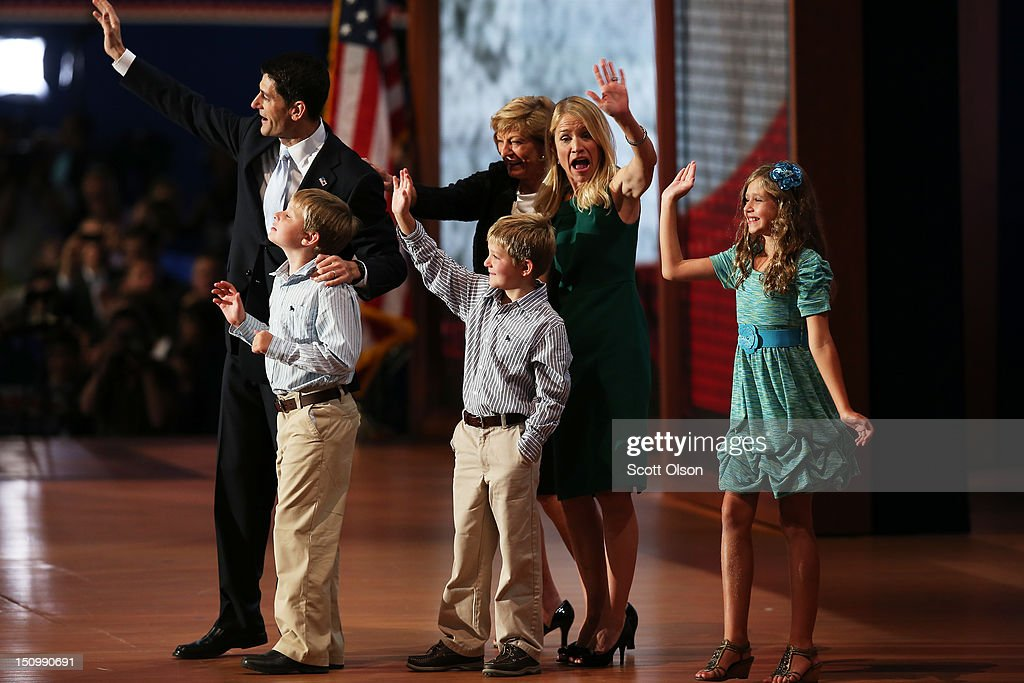 Republican vice presidential candidate, U.S. Rep. Paul Ryan (R-WI) waves with his family daughter, Liza Ryan (R), and sons, Charlie Ryan (L) and Sam Ryan and wife, <a gi-track='captionPersonalityLinkClicked' href=/galleries/search?phrase=Janna+Ryan&family=editorial&specificpeople=9632767 ng-click='$event.stopPropagation()'>Janna Ryan</a> (2R) and mother Elizabeth Ryan during the third day of the Republican National Convention at the Tampa Bay Times Forum on August 29, 2012 in Tampa, Florida. Former Massachusetts Gov. Mitt Romney was nominated as the Republican presidential candidate during the RNC, which is scheduled to conclude August 30.