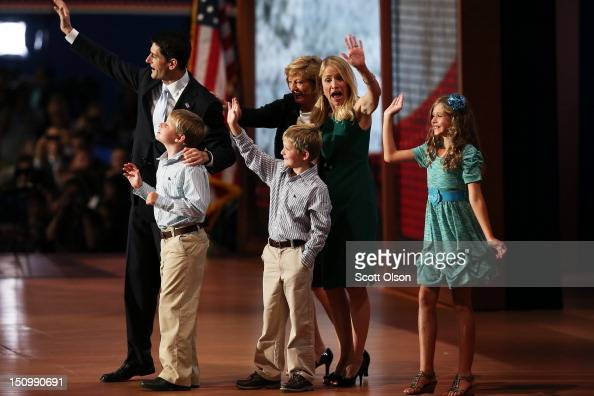 Republican vice presidential candidate US Rep Paul Ryan waves with his family daughter Liza Ryan and sons Charlie Ryan and Sam Ryan and wife Janna...