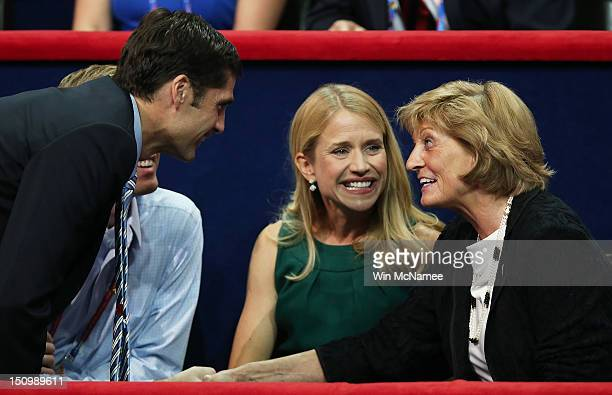 Republican vice presidential candidate US Rep Paul Ryan wife Janna Ryan sits in the VIP box with Ryan's mother Elizabeth Ryan and Matt Romney during...