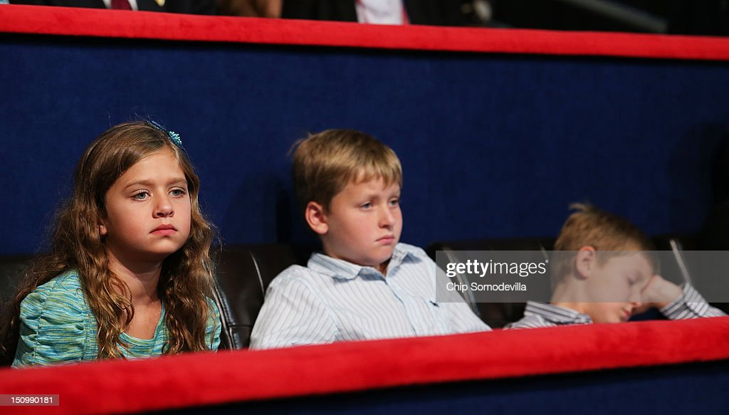 Republican vice presidential candidate, U.S. Rep. Paul Ryan's daughter, Liza Ryan, and sons, Charlie Ryan and Sam Ryan during the third day of the Republican National Convention at the Tampa Bay Times Forum on August 29, 2012 in Tampa, Florida. Former Massachusetts Gov. Mitt Romney was nominated as the Republican presidential candidate during the RNC, which is scheduled to conclude August 30.