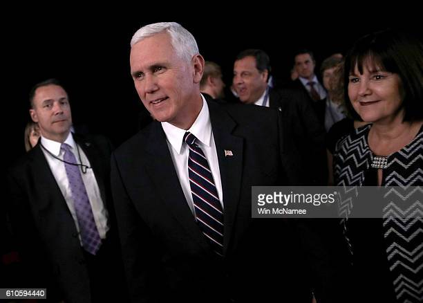 Republican Vice presidential nominee Mike Pence attends the Presidential Debate at Hofstra University on September 26 2016 in Hempstead New York The...