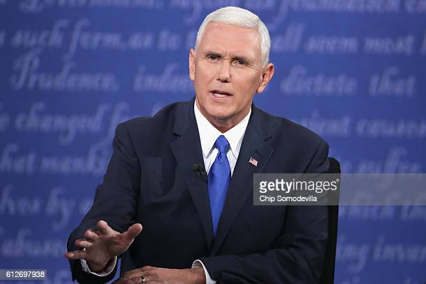 Republican vice presidential nominee Mike Pence speaks during the Vice Presidential Debate with Democratic vice presidential nominee Tim Kaine at...