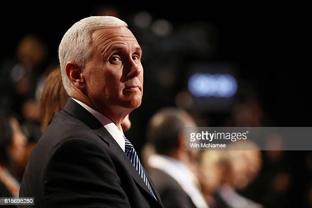 Republican vice presidential nominee Mike Pence waits for the start of the third US presidential debate at the Thomas Mack Center on October 19 2016...