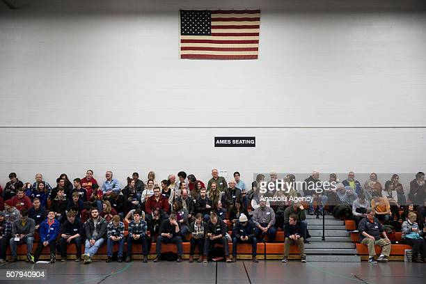 Republican voters gather in the gymnasium of Ames High School to cast their ballots in the 2016 Iowa Caucus in Ames Iowa USA on February 1 2016 Today...