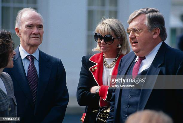 Republicans Brent Scowcroft and Lawrence Eagleburger attend a White House function to support the Clinton administration's Mideast peace process