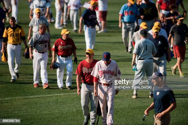 Republicans walk on the field before the Congressional Baseball Game between Democrats and Republicans at Nationals Stadium June 15 2017 in...