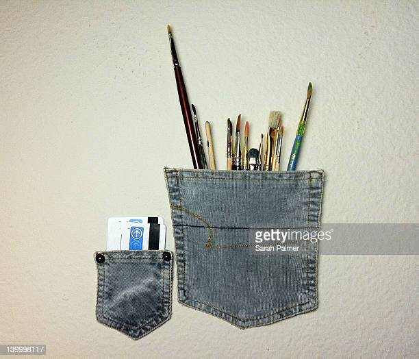 Repurposed pant pockets used storage