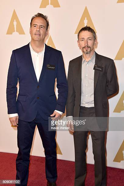 Rerecording mixer Christopher Scarabosio and production sound mixer Stuart Wilson attend the 88th Annual Academy Awards nominee luncheon on February...