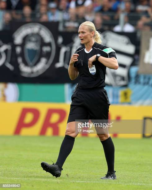 Rerferee Bibiana Steinhaus in action during the DFB Cup first round match between Chemnitzer FC and FC Bayern Muenchen at community4you Arena on...