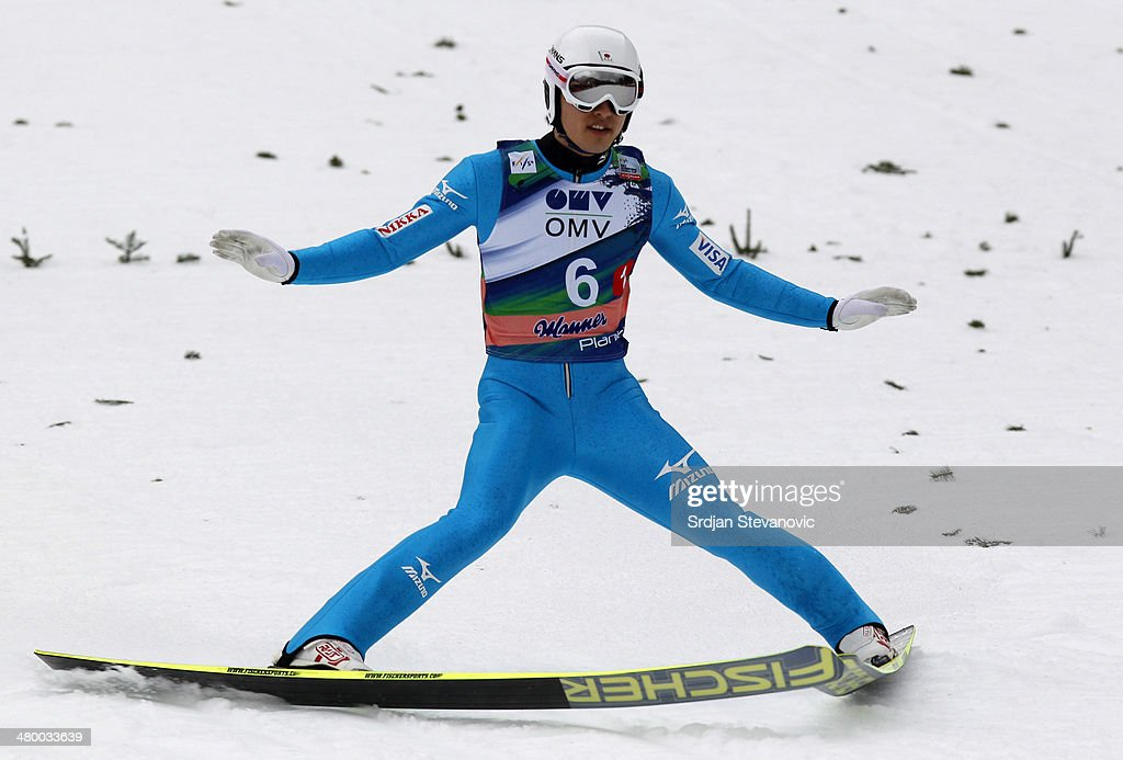 Reruhi Shimizu of Japan competes during the Large hill team of the FIS Men's Ski Jumping World Cup on March 22, 2014 in Planica, Slovenia.