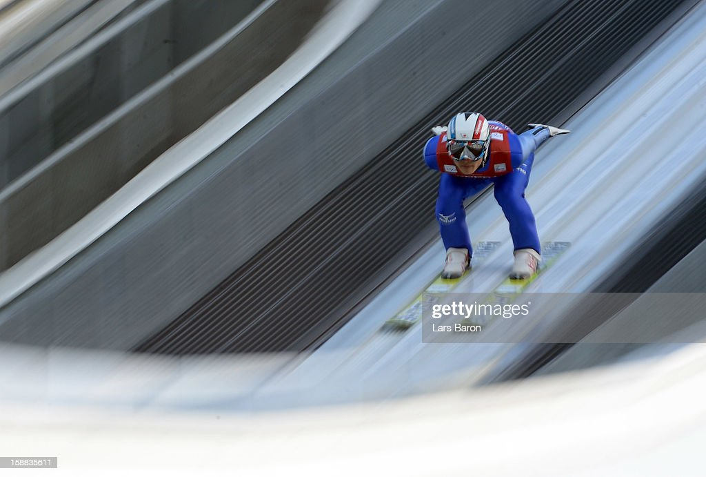 Reruhi Shimizu of Japan competes during the qualification round for the FIS Ski Jumping World Cup event at the 61st Four Hills ski jumping tournament at Olympiaschanze on December 31, 2012 in Garmisch-Partenkirchen, Germany.