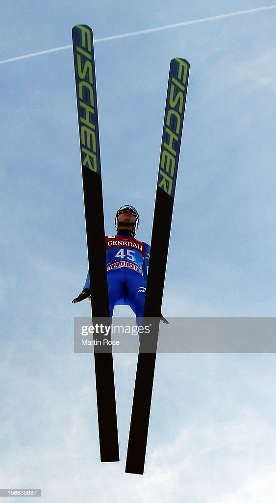 Reruhi Shimizu of Japan competes during the trial round for the FIS Ski Jumping World Cup event of the 61st Four Hills ski jumping tournament at Olympiaschanze on December 31, 2012 in Garmisch-Partenkirchen, Germany.