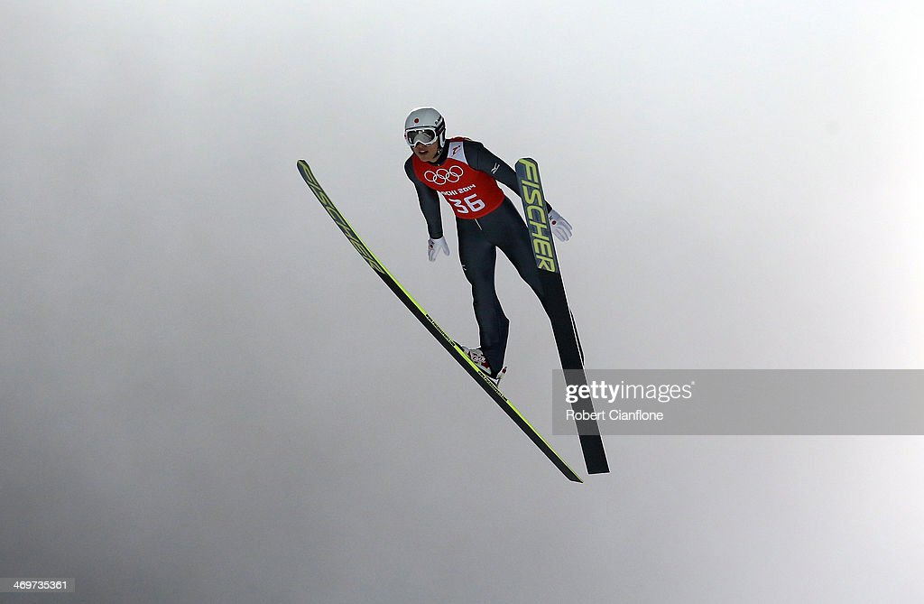 Reruhi Shimizu of Japan jumps during the Ski Jumping Men's Large Hill Official Training on day 9 of the Sochi 2014 Winter Olympics at RusSki Gorki Jumping Cernter on February 16, 2014 in Sochi, Russia.