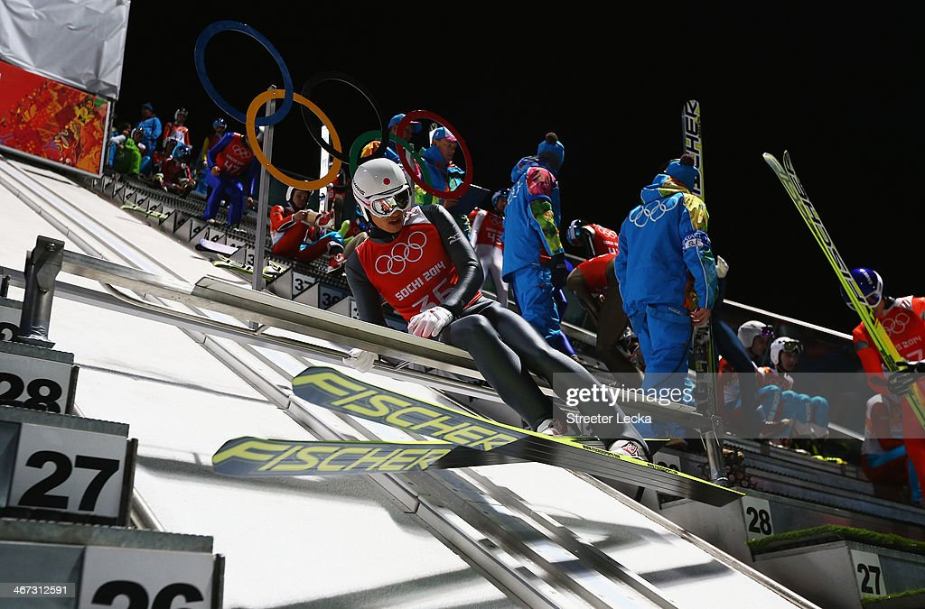 Reruhi Shimizu of Japan prepares for a jump in the Men's Normal Hill Individual Ski Jumping training ahead of the Sochi 2014 Winter Olympics at the RusSki Gorki Ski Jumping Center on February 6, 2014 in Sochi, Russia.
