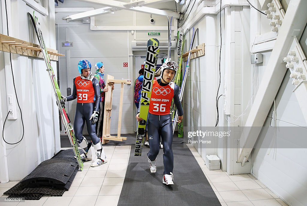 Reruhi Shimizu of Japan prepares to jump during Men's Large Hill Ski Jumping Offical Training at RusSki Ski Jumping Centre on day five of the Sochi 2014 Winter Olympics on February 12, 2014 in Sochi, Russia.
