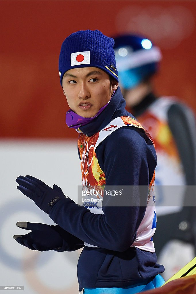 Reruhi Shimizu of Japan reacts after a jump during the Men's Large Hill Individual Qualification on day 7 of the Sochi 2014 Winter Olympics at the RusSki Gorki Ski Jumping Center on February 14, 2014 in Sochi, Russia.