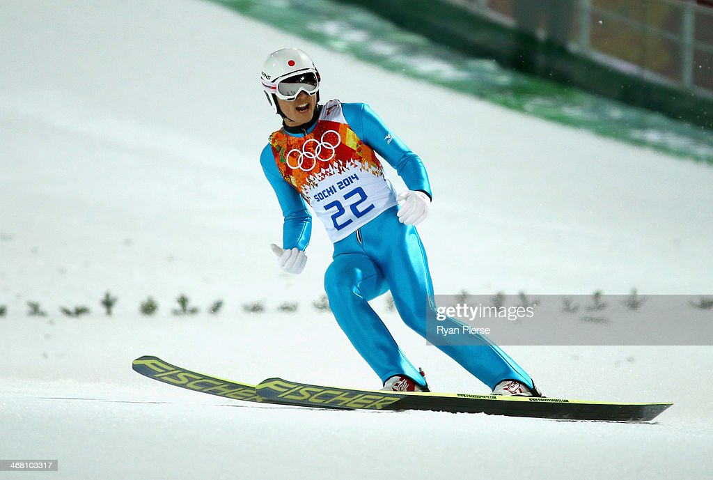 Reruhi Shimizu of Japan reacts during the Men's Normal Hill Individual Ski Jumping Final on day 2 of the Sochi 2014 Winter Olympics at RusSki Gorki Jumping Center on February 9, 2014 in Sochi, Russia.