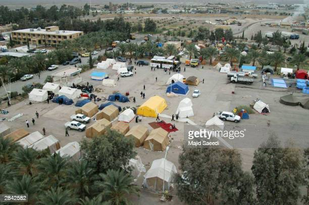 Rescue and relief workers' tents stand after last week's earthquake in this aerial view January 3 2004 in Bam Iran The death toll from the...