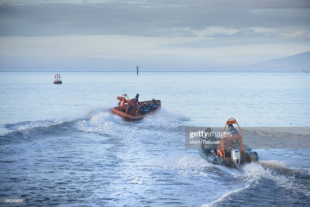 Rescue boats in training at nautical training facility