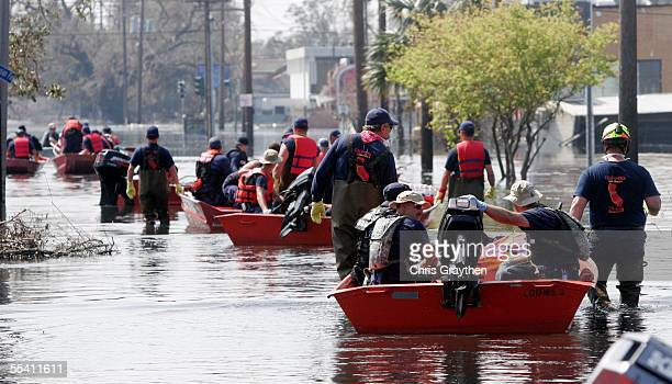 Rescue crews head out to continue to search the neighborhoods surrounding the Elysian Fields area over two weeks after the Hurricane Katrina swept...