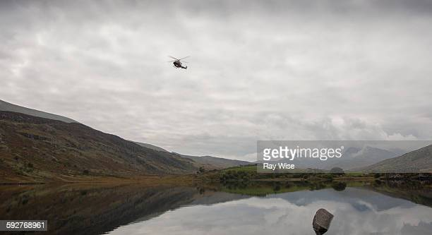 Rescue helicopter in snowdonia