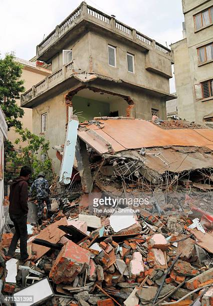 Rescue operation continues on April 26 2015 in Kathmandu Nepal A major 78 earthquake hit Kathmandu midday on Saturday and was followed by multiple...