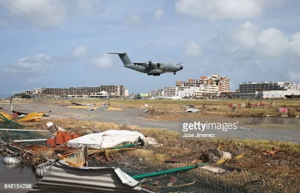 A rescue plane lands at the Princess Juliana Airport in Saint Maarten days since Hurricane Irma devastated this Caribbean resort island