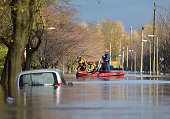 A rescue team takes to the streets after Storm Desmond brought heavy rain and severe flooding on December 6 2015 in Carlisle England Storm Desmond...