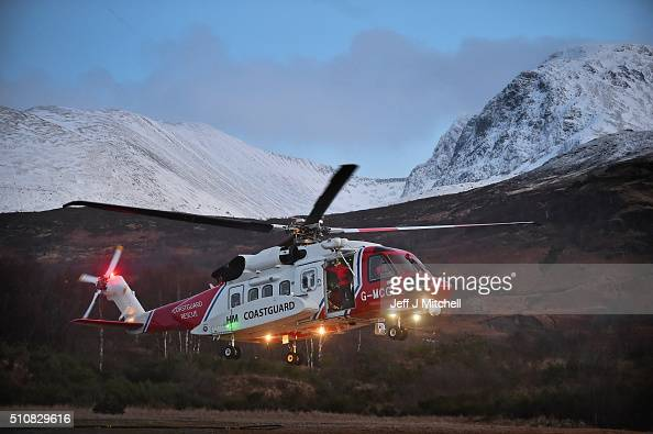 Rescue teams and a Coastguard helicopter are deployed to the scene of an Avalanche at Creag Meagaidh on February 17 2016 in Fort WilliamScotland The...